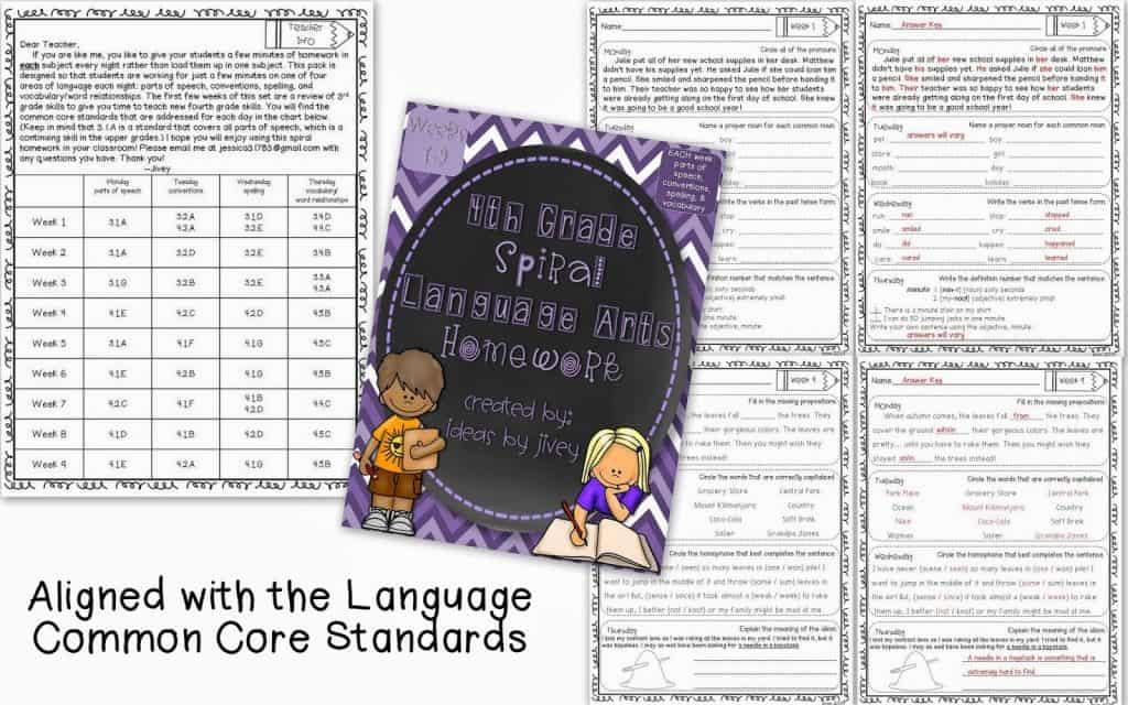 Spiral Language Arts Homework with Ideas by Jivey