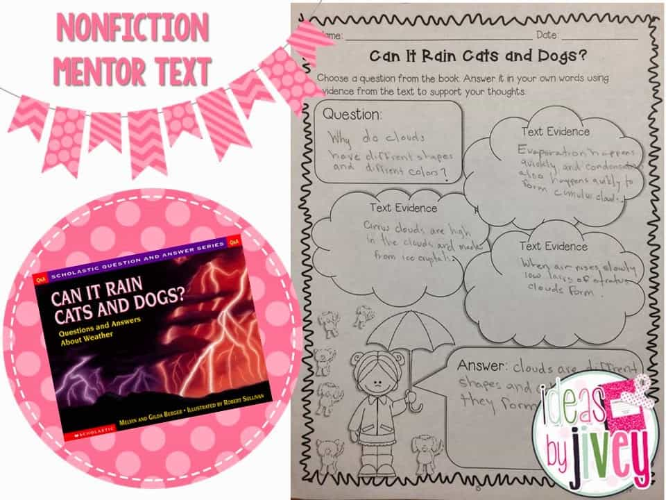 Can It Rain Cats and Dogs and non fiction mentor sentences with Ideas by Jivey.