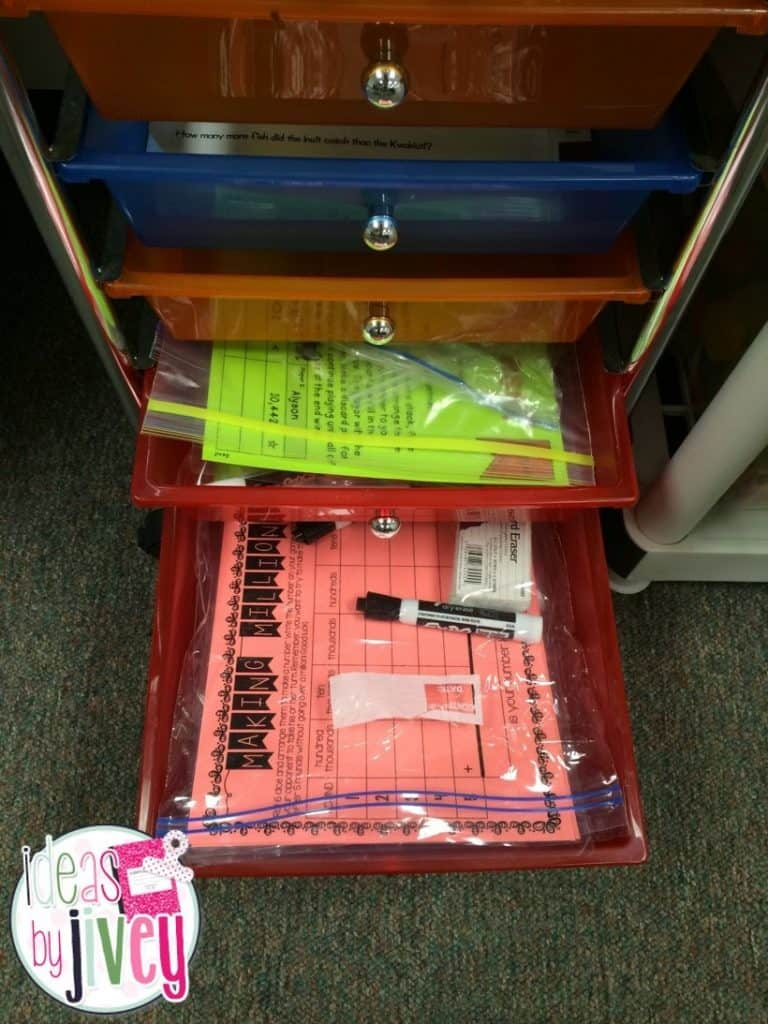 Organizing math stations with Ideas by Jivey