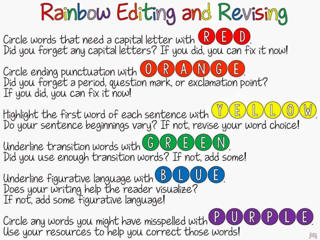 worksheet Editing And Revising Worksheets rainbow editing and revising freebie ideas by jivey activity with jivey