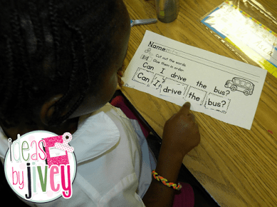 Mentor sentences for emergent readers with Ideas by Jivey