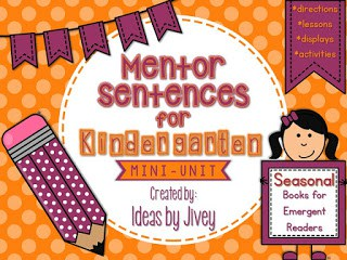 Mini Unit Mentor sentences for emergent readers with Ideas by Jivey