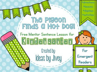 Mentor sentences for emergent readers Freebie with Ideas by Jivey