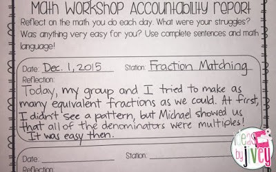 Math Workshop Student Accountability Report With Ideas by Jivey