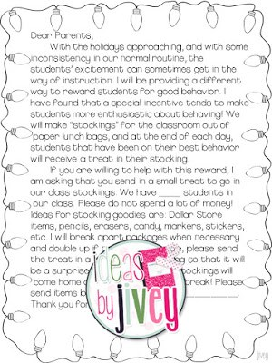 free parent letter for behavior stockings (Ideas By Jivey)
