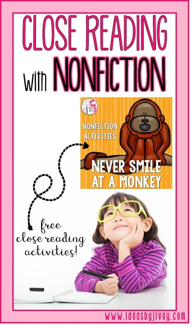 Nonfiction close reading can be tricky to introduce, but Jivey shows you how to break it down simply using the mentor text, Never Smile at a Monkey.