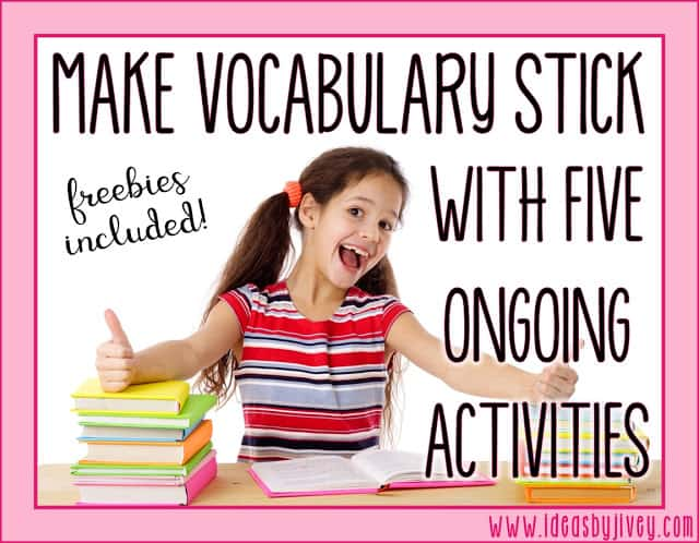 Vocabulary must be taught in context, and should be an ongoing process, in order for students to truly comprehend the words. Learn about five easy ways you can make vocabulary stick with your students.