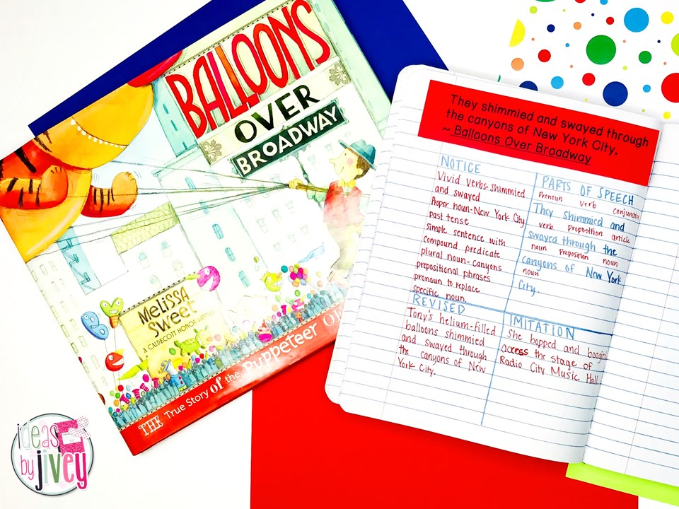Balloons Over Broadway Mentor Text with Mentor Sentence Notebook