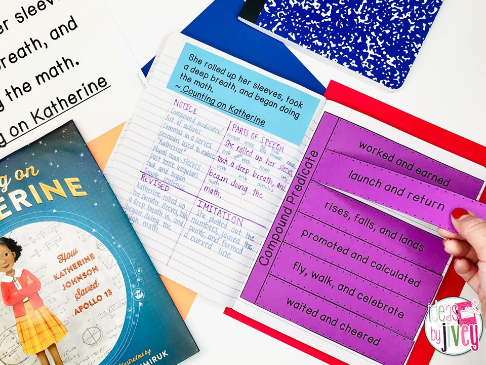 Counting On Katherine Mentor Text and Mentor Sentence notebook with interactive activity