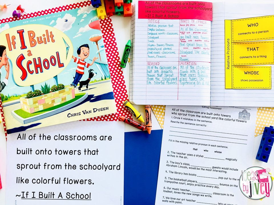 If I Built a School Mentor Text with Mentor Sentence notebook, teacher page, and assessment