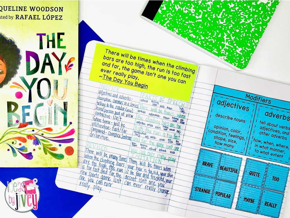 The Day You Begin Mentor Text and Mentor Sentences notebook with activities