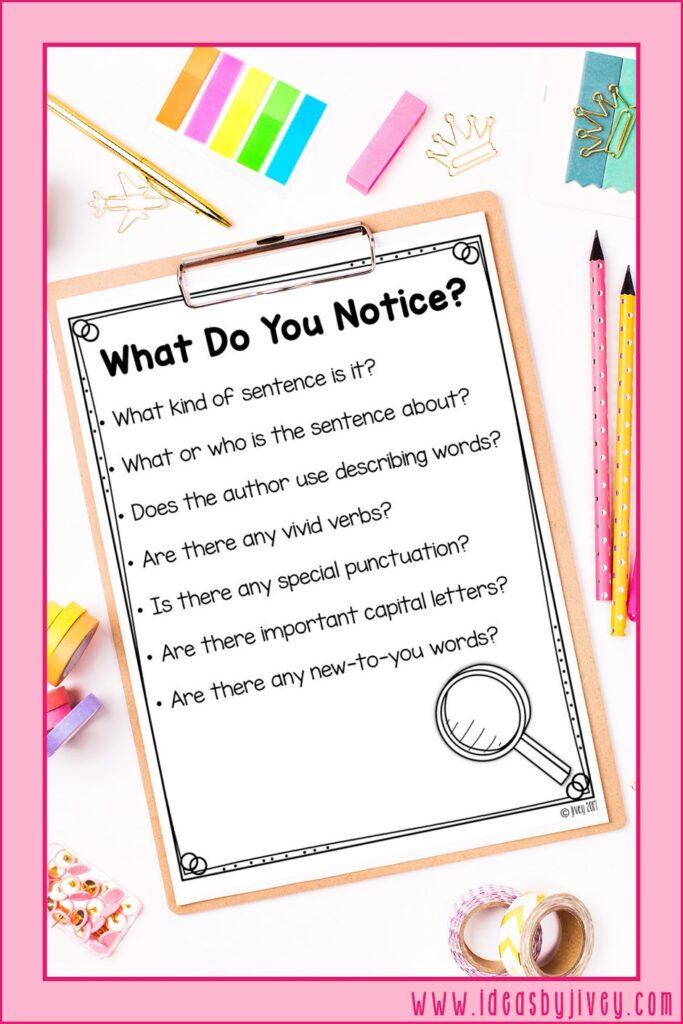 notice mentor sentences prompt poster
